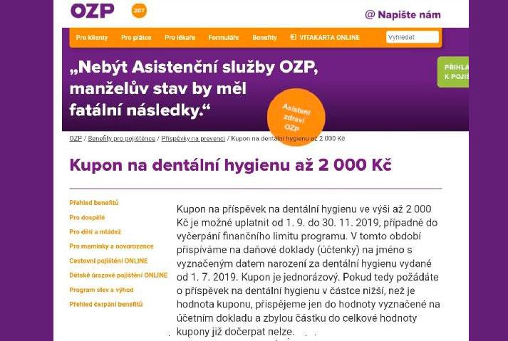 Omezená novinka pro klienty OZP