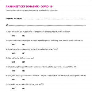 """""""Anamnestický dotazník – COVID-19"""""""