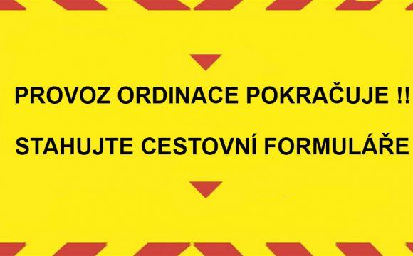 Provoz naší ordinace pokračuje!! Stáhněte si náš formulář čestného prohlášení.